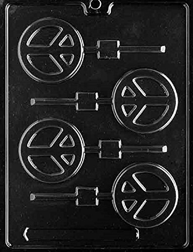 Grandmama's Goodies M179 Peace Sign Lollipop Chocolate Candy Soap Mold with Exclusive Molding Instructions ()
