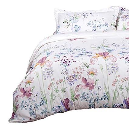Amazon Com Bedsure Printed Floral Duvet Cover Set King Size White