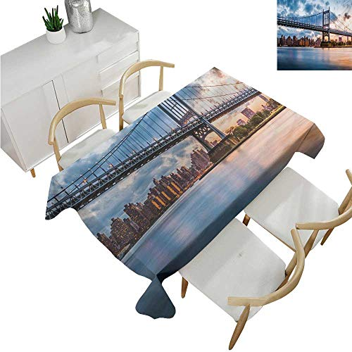 familytaste New York City,Tablecloth Rectangular,Kennedy Triboro Bridge in Queens New York Manhattan River Scenery,Table in Washable Polyester 70