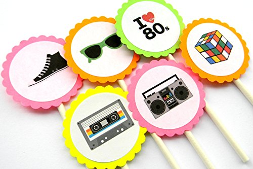 Neon 80s Cupcake Toppers - Set of 12 -