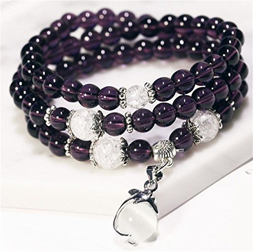 Natural Amethyst Agate Bracelet Healing Stones Chakra Dolphin Opal Beaded Mala Beads Necklace