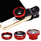 Suines 3 in1 Fisheye Wide Angle Macro Camera Lens Kit Clip On for Mobile Cellphone Accessory Kits