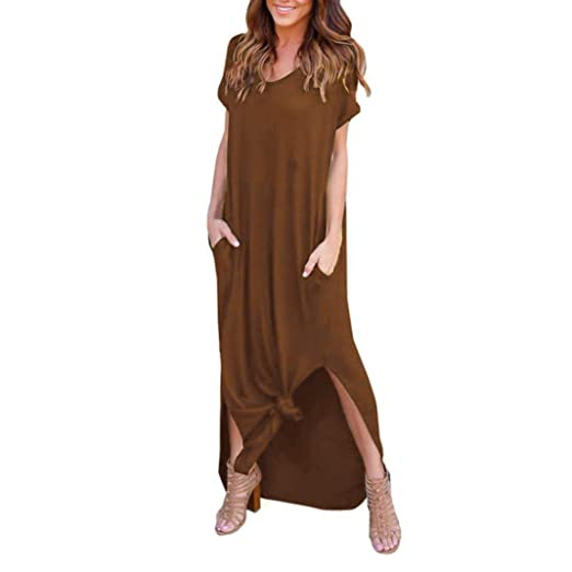 966183d81ed0 Lamolory Women's Casual Pocket Beach Long Dress Short Sleeve Split Loose  Maxi Dress (Brown,