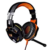 KOTION EACH G2000 Professional 3.5mm PC LED Light Gaming Bass Stereo Noise Isolation Over-ear Headset Headphone Earphones Headband with Mic Microphone HiFi Driver For Laptop Computer - Volume Control (Black-Orange)