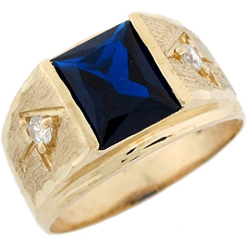 10k Gold 10x8mm Synthetic Sapphire September Birthstone Mens Ring