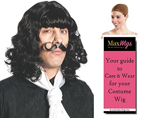 (Captain Hook color BLACK - Enigma Wigs Wig and Mustache Set Pan Cpt James Peter Pirate Bundle w/Cap, MaxWigs Costume Wig Care Guide)