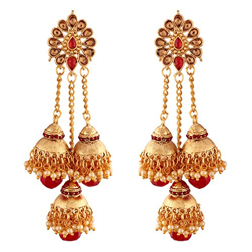 I Jewels Indian Bollywood Jewelry Round Ethnic Jhumki Earrings for women