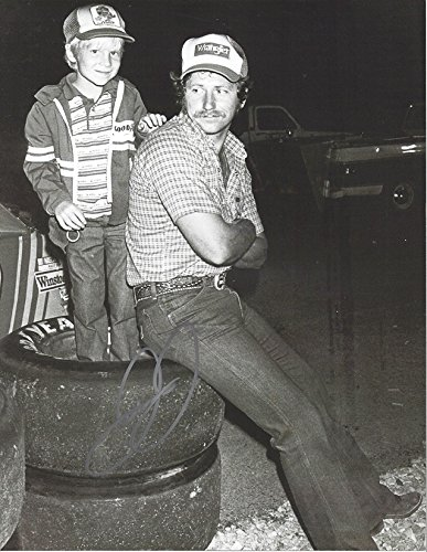 AUTOGRAPHED Dale Earnhardt Jr. #8 Budweiser Racing VINTAGE CHILDHOOD PICTURE WITH DAD (Black & White) Signed Collectible Picture NASCAR 9X11 Inch Glossy Photo with (Dale Earnhardt Photo)