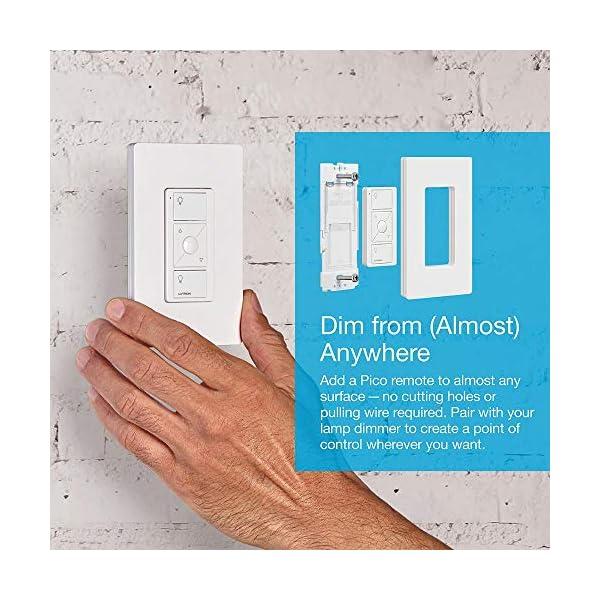 Lutron Caseta Wireless Single-Pole/3-Way Smart Lighting Lamp Dimmer and Remote Kit | P-PKG1P-WH-R | White 6