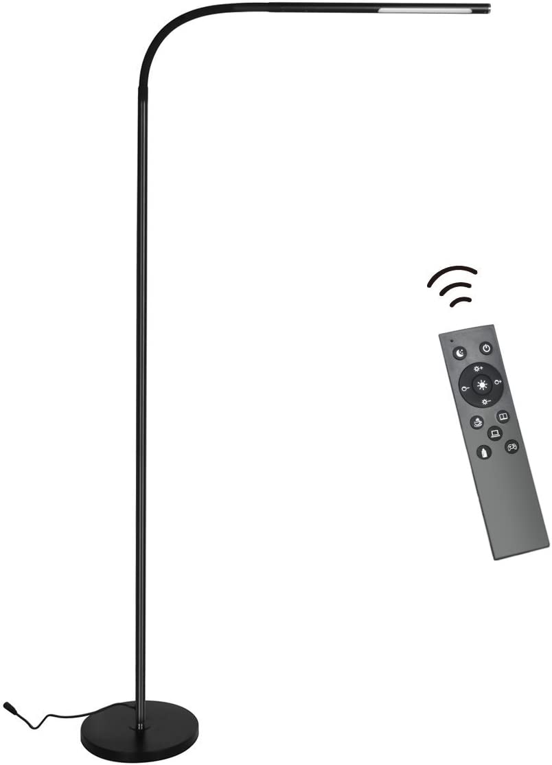 Byingo Remote Control Touch Sensor Switch LED Reading and Crafting Floor Lamp – Modern Simplicity Style – Stepless Dimming – Fully Adjustable Long Arm – for Sofa Desk Reading, Living Room, Bedroom