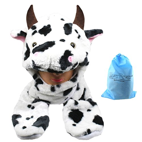 Silver Fever Plush Soft Animal Beanie Hat with Built-in Earmuffs, Scarf, Gloves (Spotted Cow) (Cow Girl Hat)