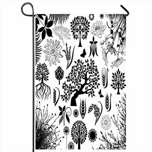 (Ahawoso Outdoor Garden Flag 12x18 Inches Friendly Leaf Ayurveda Trees Plants Nature Natural Plant Black Blossom Botany Bush Grape Home Decor Seasonal Double Sides House Yard Sign Banner)