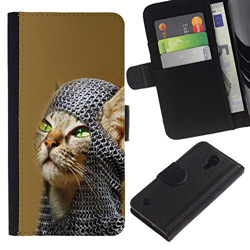 EuroCase - Samsung Galaxy S4 IV I9500 - American shorthair knight cat - Cuero PU Delgado caso cubierta Shell Armor Funda Case Cover