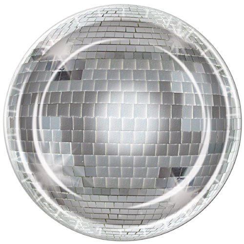 Pack of 96 Disposable Shimmering Silver Disco Ball Dinner Plates 9