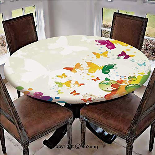 SoSung Elastic Edged Polyester Fitted Table Cover,Silhouettes of Butterflies Freedom Icons of The Nature Festival Artwork,Fits up 40