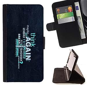 - Think Again Deep Message - - Prima caja de la PU billetera de cuero con ranuras para tarjetas, efectivo desmontable correa para l Funny HouseFOR Apple Iphone 5C