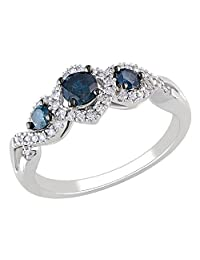 Blue and White Diamond Three Stone Infinity Ring 1/2 Carat (ctw) in 14k White Gold