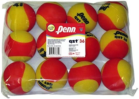 Penn QST 36 espuma roja pelotas de tenis, 12 Bola Bolsa: Amazon.es ...