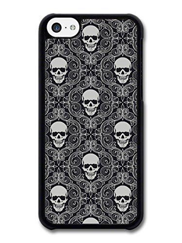 Black and White Skull Gothic Pattern with Livery Grunge Hipster case for iPhone 5C