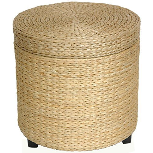 Oriental Furniture Rush Grass Storage Footstool - Natural (Seagrass Stool)