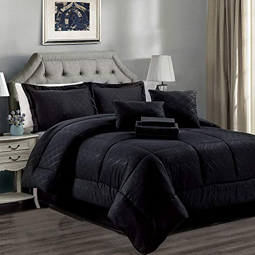 JML Queen Comforter Set, 10 Piece Microfiber Bedding Comforter Sets with Shams – Luxury Solid Color Quilted Embroidered Pattern, Perfect for Any Bed Room or Guest Room Black
