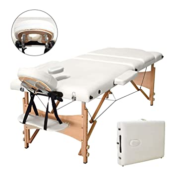 7a861d0ce35e Vesgantti Portable Massage Bed Table - 3-Section Foldable Beauty Couch for  Reiki Therapy Treatment