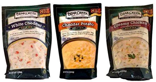 [Bear Creek Country Kitchens Soup Mix 3 Flavor Variety Bundle: (1) White Cheddar Soup Mix, (1) Cheddar Potato Soup Mix, and (1) Creamy Chicken Soup Mix, 8.3-12.1 Oz. Ea.] (Creamy Potato Soup Recipe)