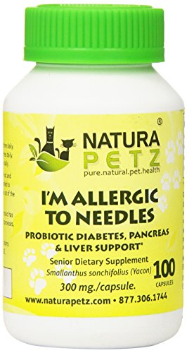 Natura Petz I'm Allergic to Needles Probiotic Diabetes, Pancreas, Liver and Insulin Resistance Support for Senior Pets, 100 Capsules, 300mg Per Capsule