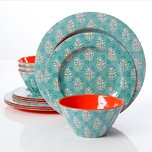 Studio California Solina 12 Piece Melamine Dinnerware Set, A