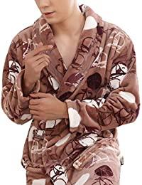 Autumn and Winter Thickened Fleece Bath Robe Night Gowns for Men