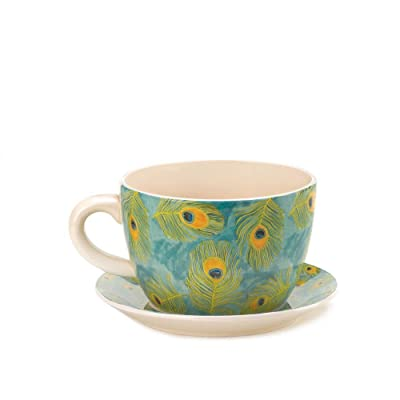 Decor and More Store 10016839 Large Style Garden Pot Cup and Saucer with Drain Hole Peacock Feather Teacup Planter : Garden & Outdoor