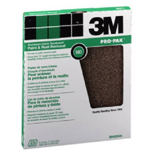 3M Pro-Pak 99403-NA-CC Aluminum Oxide Sheets for Paint and Rust Removal 9-Inch by 11-Inch 120-Grit