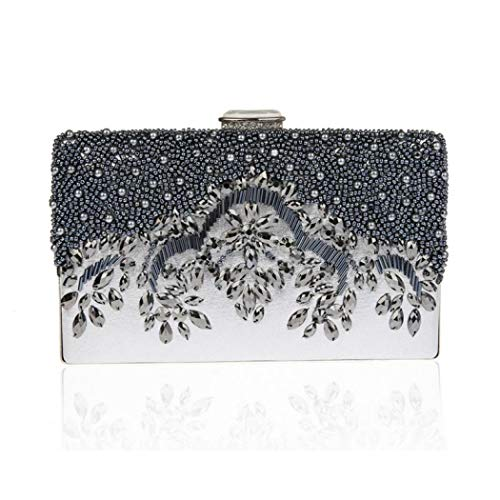 Gray Vintage Clutch Women's Purse Clasp Beaded Clip Evening EROUGE Square Crossbody Bag wq5T6PP