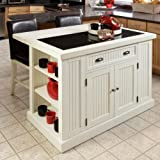 This Nantucket Distressed White Kitchen Island Will Add a Chic Vintage Touch to Your Home and Be a Perfect Organizer with Ample Storage Space, Adjustable Shelves, a Drawer and Cabinets, so There's Room for All Your Culinary Accessories. For Sale