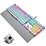 Retro Steampunk Gaming Mechanical Keyboard, Metal Panel, Black Switch, Customizable RGB Backlit,USB Wired, with Removable Hand Rest, Typewriter-Style Round Keycaps, 104 Anti-ghosting Keys