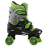 No Fear Kids Quad Skates Boys Skate Shoes Rollers Wheeled Black/Green UK 1 - 4