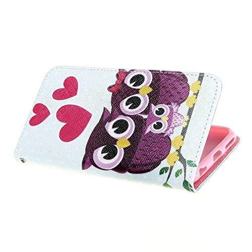 Painting Art Design Beutel PU Leder Stehen Flip Schutzhülle Hülle Tasche Schale Case Cover für for Apple iPhone 6 4.7 Zoll (Owl)