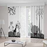 Decor Collection,Tree,for Bedroom Living Dining Room Kids Youth Room,Bullfinches on Trees in Winter City Park Snow Cold Weather Immigrant Birds Design,196Wx83L Inches