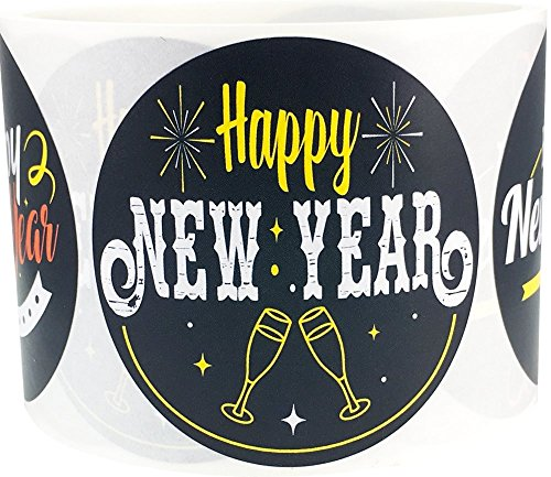 Happy New Year Stickers 2.5 Inch Round Circle