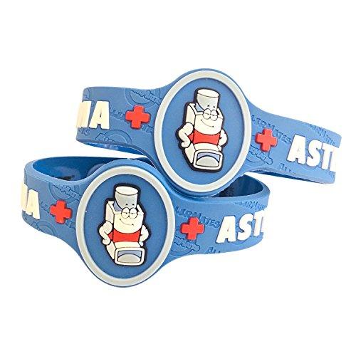 Kids Asthma Band, Kids Medical Wristband - Colorful Asthma Alert Bracelet, Latex Free Asthma Medical Alert for Kids Ages 2+ Asthma Awareness Bracelets Adjustable & Soft (2 Pack