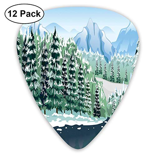 Guitar Picks 12-Pack,Wildwood In Winter Season With Snowy Mountains And Frozen River Cartoon Style