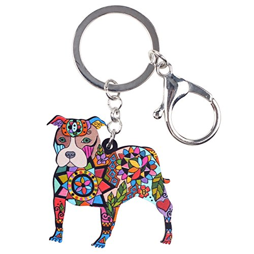 Bonsny Acrylic Pit Bull Dog Key Chains Keyrings for Women Gifts Teens Kids Car Purse Handbag Charm Jewelry (Multicoloured) ()
