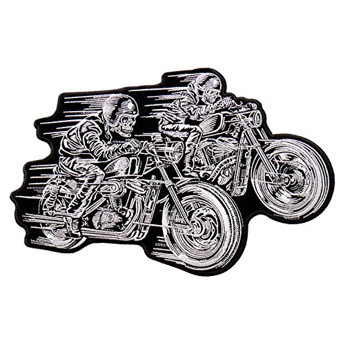 Hot Leathers, ZZ RIDERS, Upgrade Your Duds, Two Skeleton Bikers Riding Top Speed, Iron/Saw-On Rayon PATCH - 10