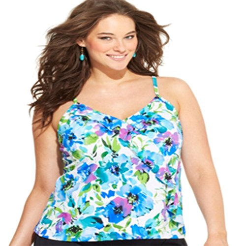 3ea2e6018b Caribbean Joe Plus Size Diagonal Ruffled Tankini Top Women s Swimsuit 24W