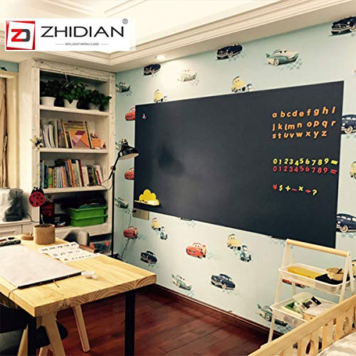 Self Adhesive Chalkboard Wall Sticker, Magnetic Receptive Blackboard Thick Contact Paper with Chalks, Peel and Stick Chalknetic Chalkboard Roll for School, Office, Home, 36x24 inches