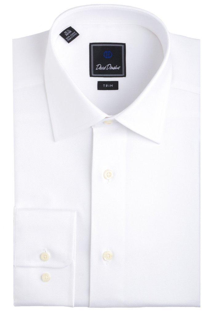 David Donahue Men's Royal Oxford Regular Fit Dress Shirt (White, 15.5 32/33)