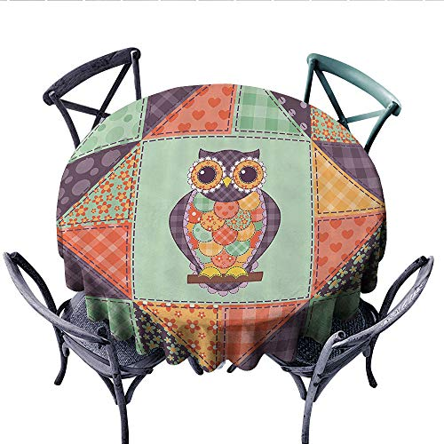- Owls Home Decor Collection Dinning Tabletop DecorOwl with Heart Shapes Polkadots Checked Classic Fabric Design Pattern Dust-Proof Round Tablecloth (Round, 70 Inch, Soft Coral Light)