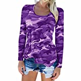 Ladies Camouflage T-Shirt Long Sleeve Casual Loose Tops Crew Neck Blouses for Women