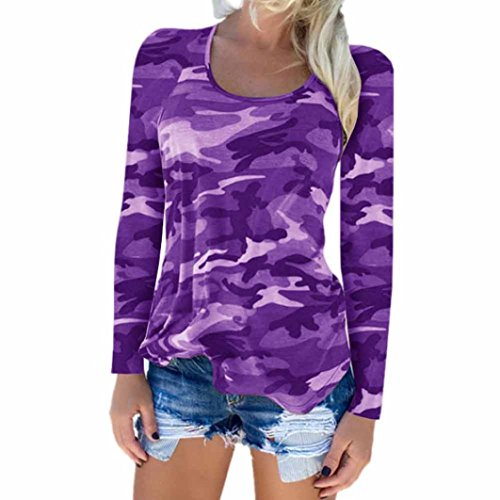 Tee Sleeve Organic Extra Long (MITIY Women Clothes Ladies Camouflage T-Shirt Long Sleeve Casual Loose Tops Crew Neck Blouses for Women)