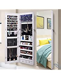 Jewelry Organizer Jewelry Cabinet, Full Screen Display View Larger Mirror,  Lockable Wall Door Mounted